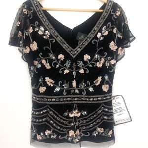 Adrianna Papell beaded black floral top size 10